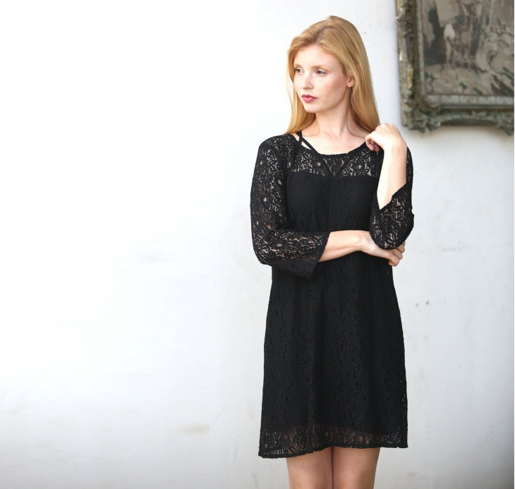 Lace Shift Dress with Sleeves