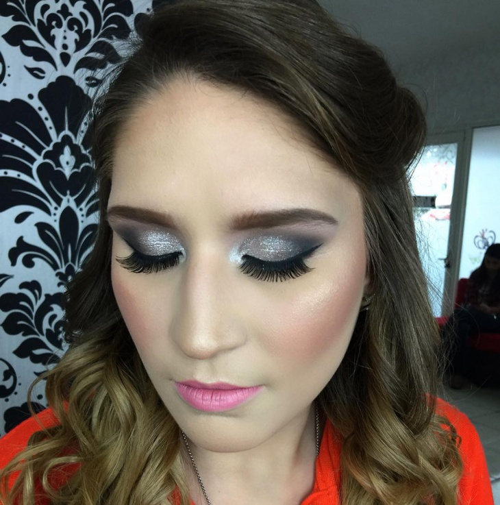 Silver Glitter Prom Makeup Design