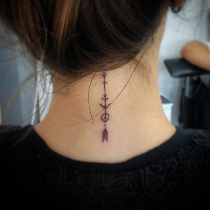 arrow tattoo on neck for women