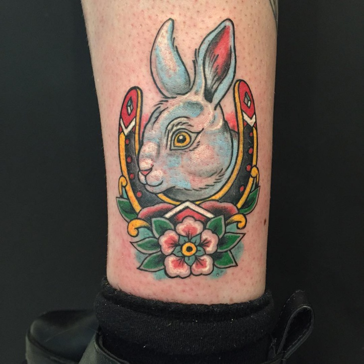 Colorful Rabbit Tattoo on Leg