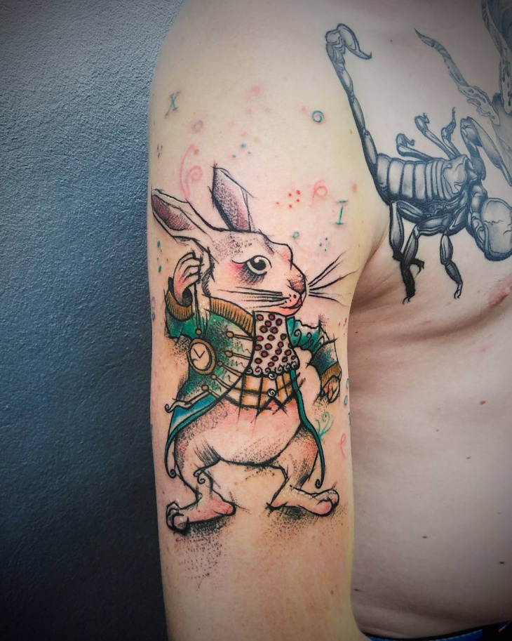 Crazy Rabbit Tattoo Design