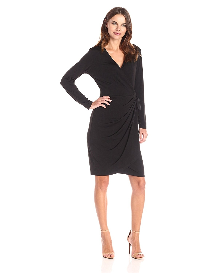 Wrap style dress provides you with a deep v-neckline that shows off your cleavage as much as you want for it to. The fitted seamline under the bust provides a point where the wrap can combine at the top and provides you with pleats that rise up from the seam.
