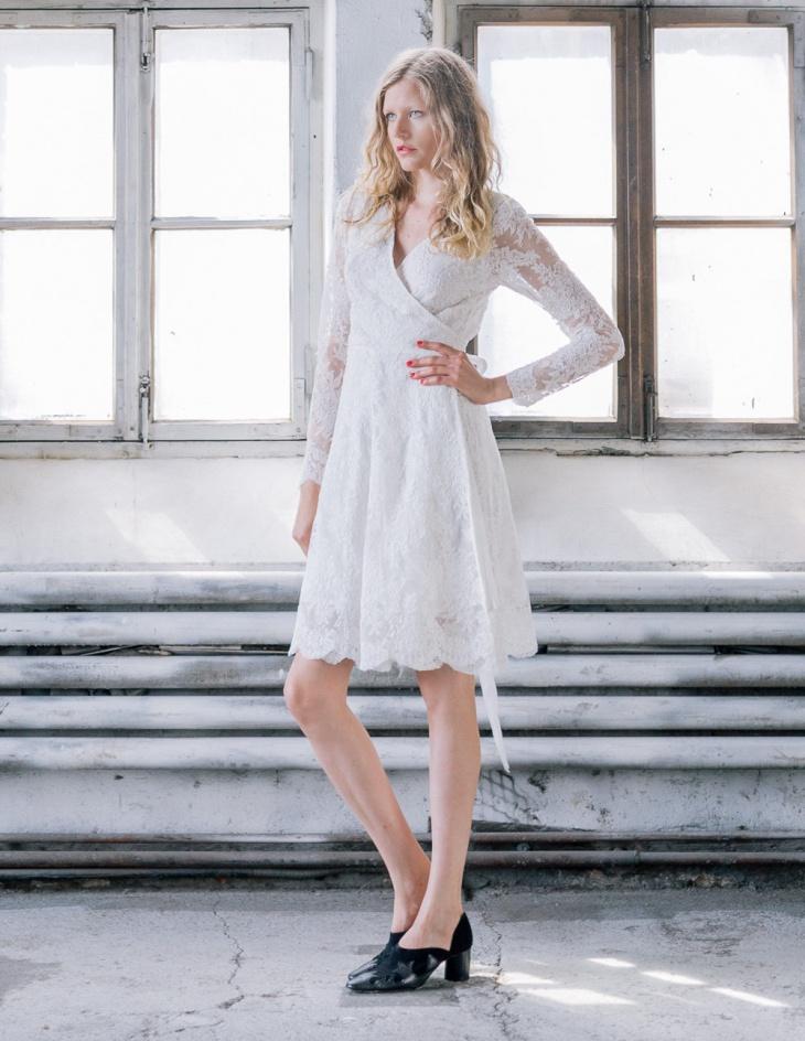 White Lace Wrap Dress Design