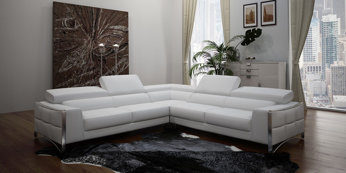Modern Sectional Sofa, White Bonded Leather