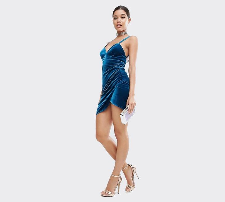 Blue Velvet Wrap Dress
