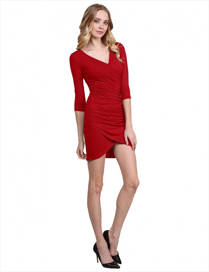 Short Red Wrap Dress for Women