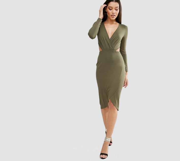 Bodycon Long Sleeve Wrap Dress