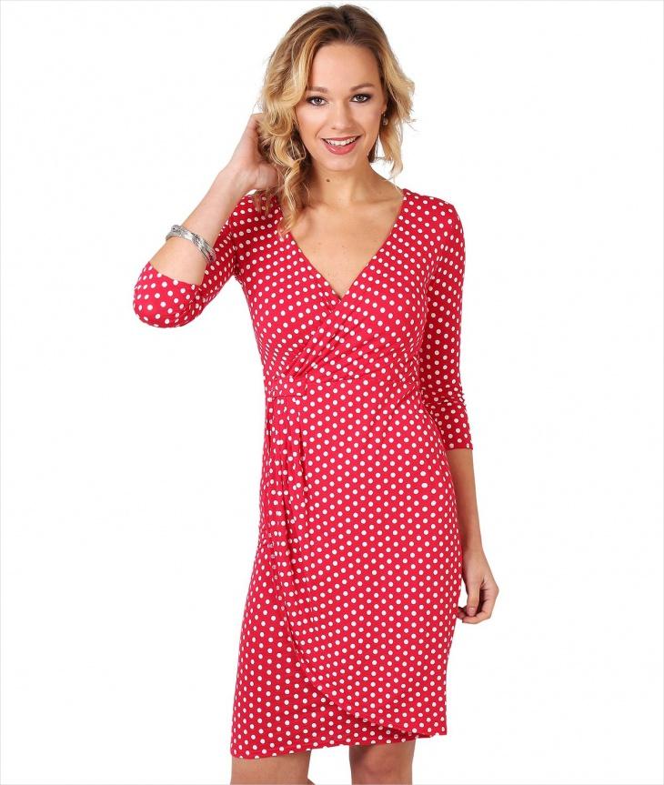 Red Polka Dot Wrap Dress for Women