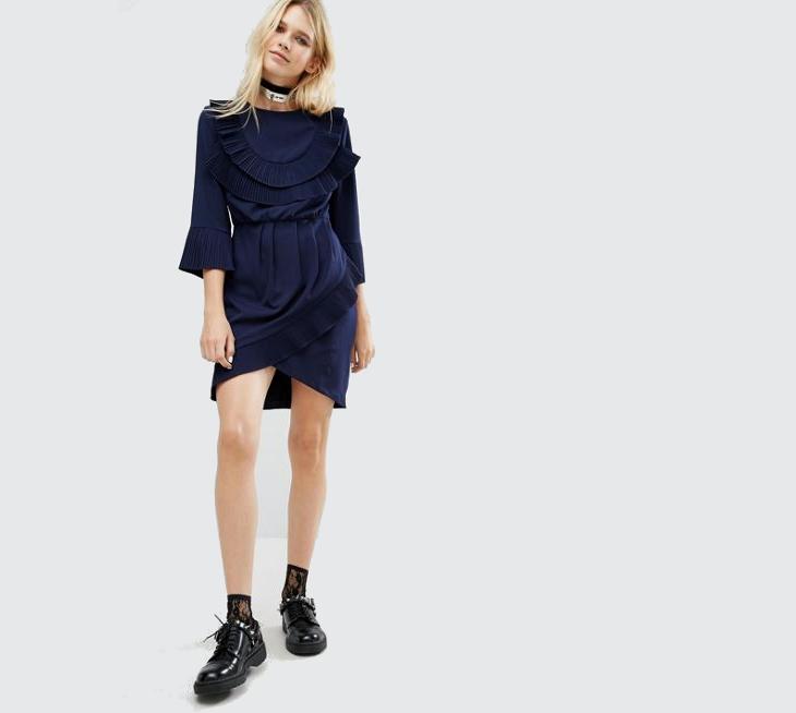 Ruffle Collar Wrap Dress