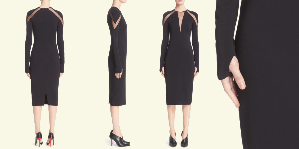 Long Sleeve Crepe Midi Dress by Pamella Roland