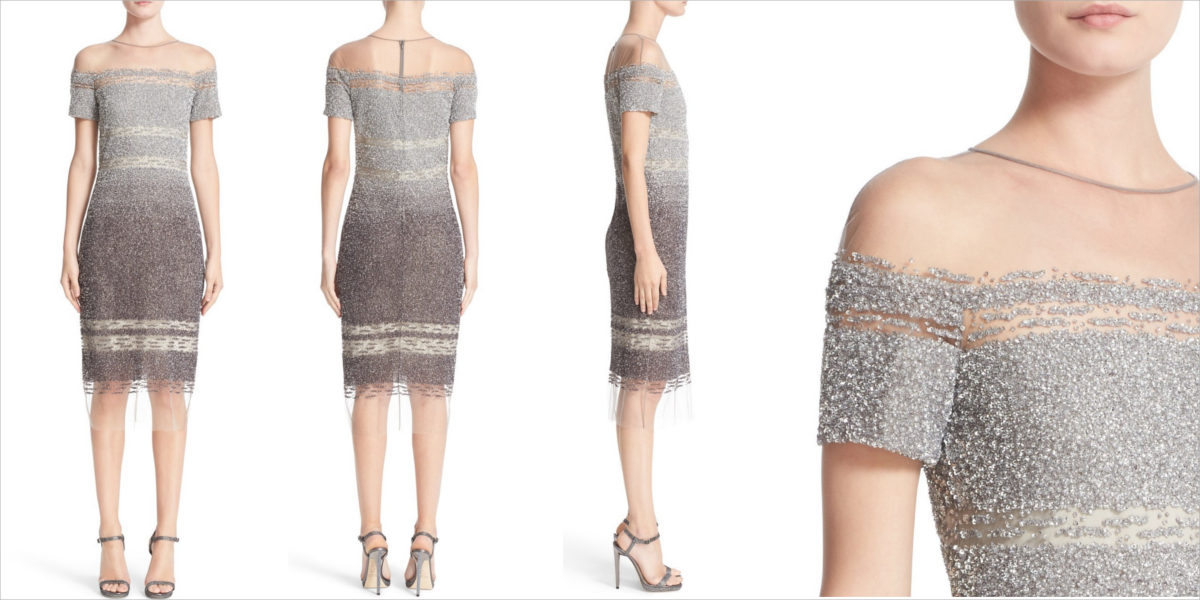 sequin cap sleeve cocktail dress by pamella roland
