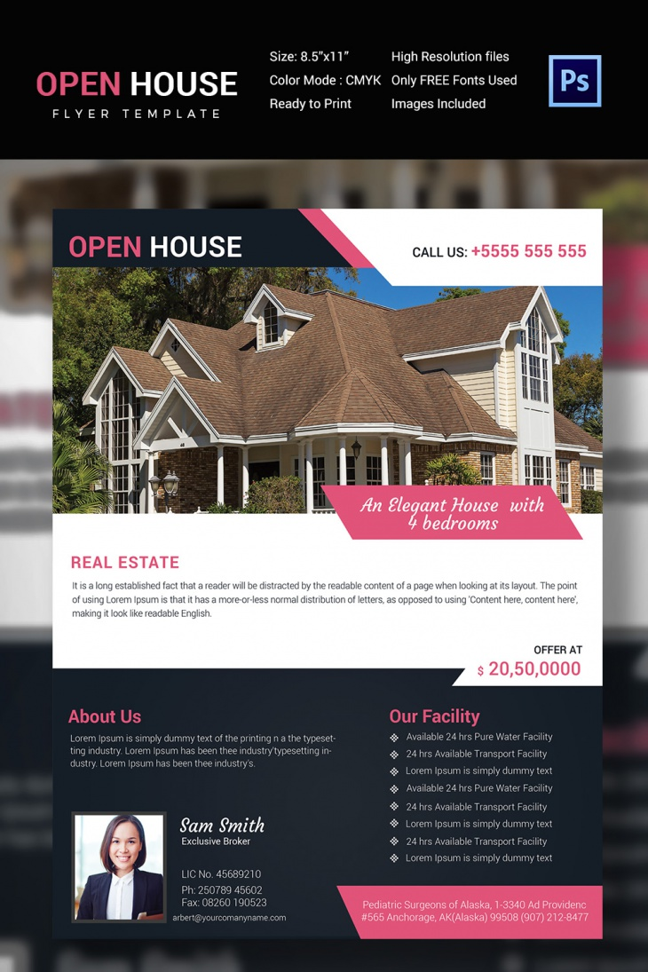 27 open house flyer templates printable psd ai vector for Open house brochure template