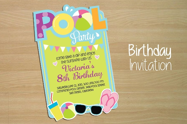 Birthday Pool Party Invitation Design