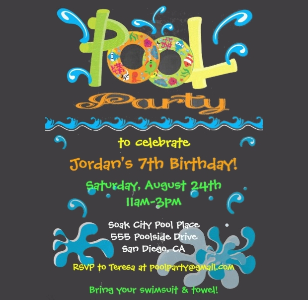 Chalkboard Pool Party Invitation