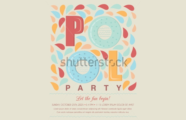 Vintage Pool Party Invitation Design