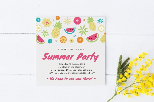 Colorful Summer Pool Party Invitation