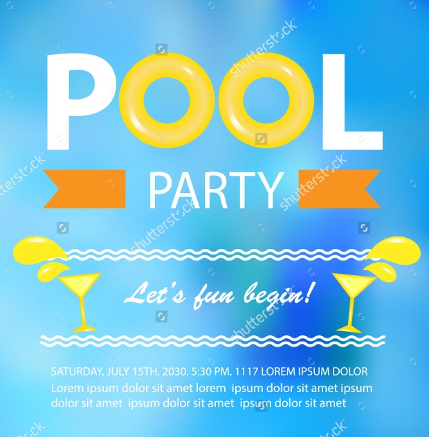 Beach Pool Party Invitation