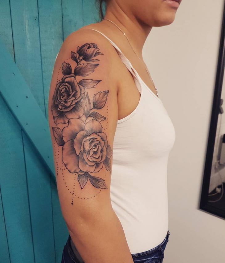 rose floral half sleeve tattoo