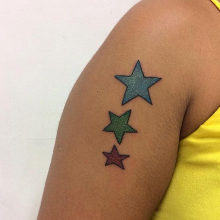 womens half sleeve star tattoo