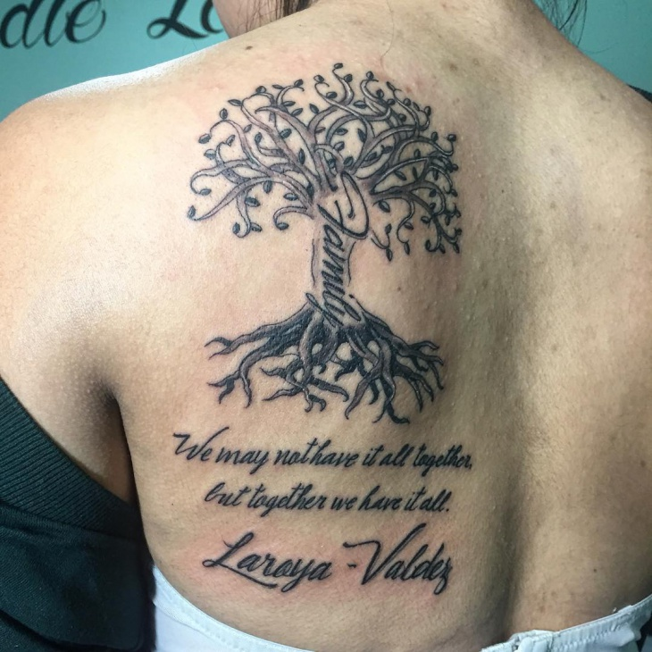 Family Tree Tattoo Design on Back