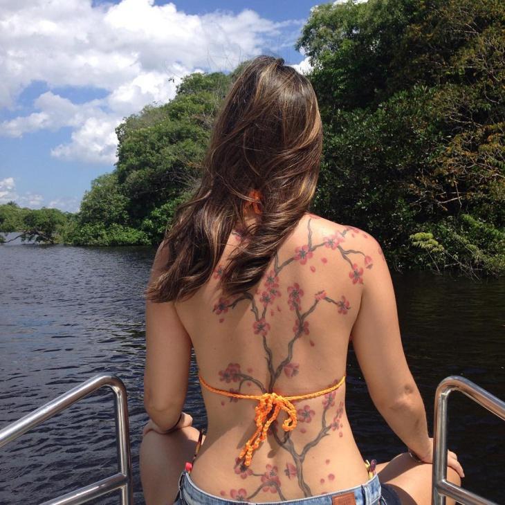 cherry blossom tree tattoo on back