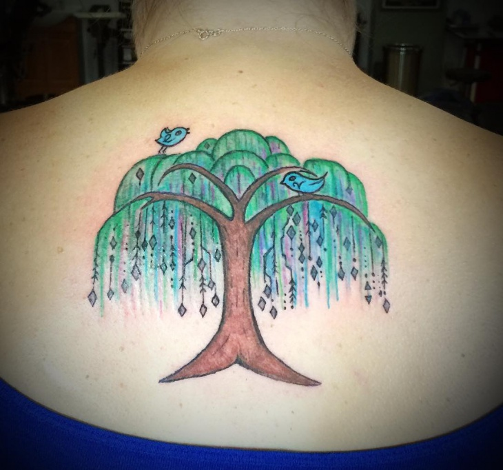 Willow Tree Tattoo on Back