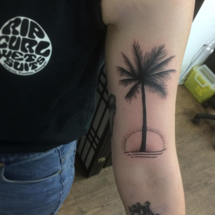 palm tree sleeve tattoo design