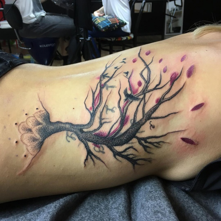 cherry blossom side tree tattoo