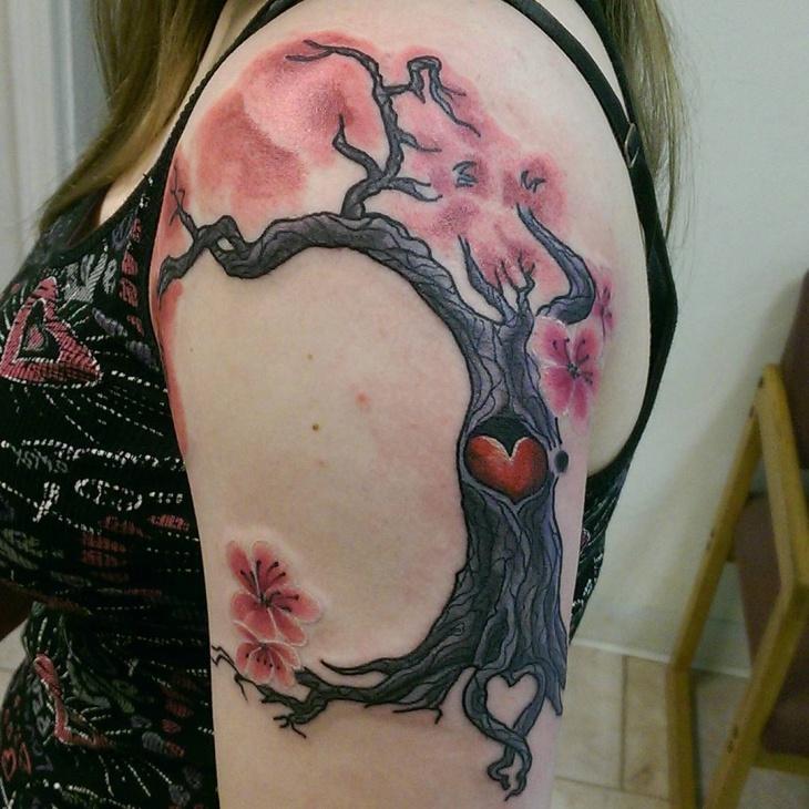 cherry blossom tree tattoo on arm