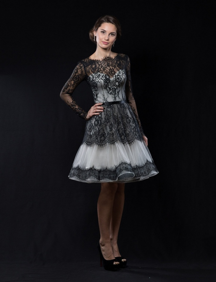 black lace short prom dress