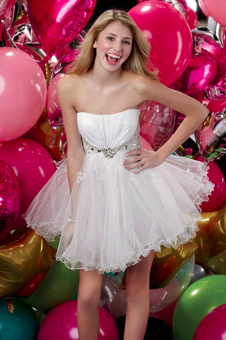 short white tulle prom dress for women