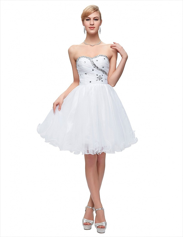 short cocktail white prom dress