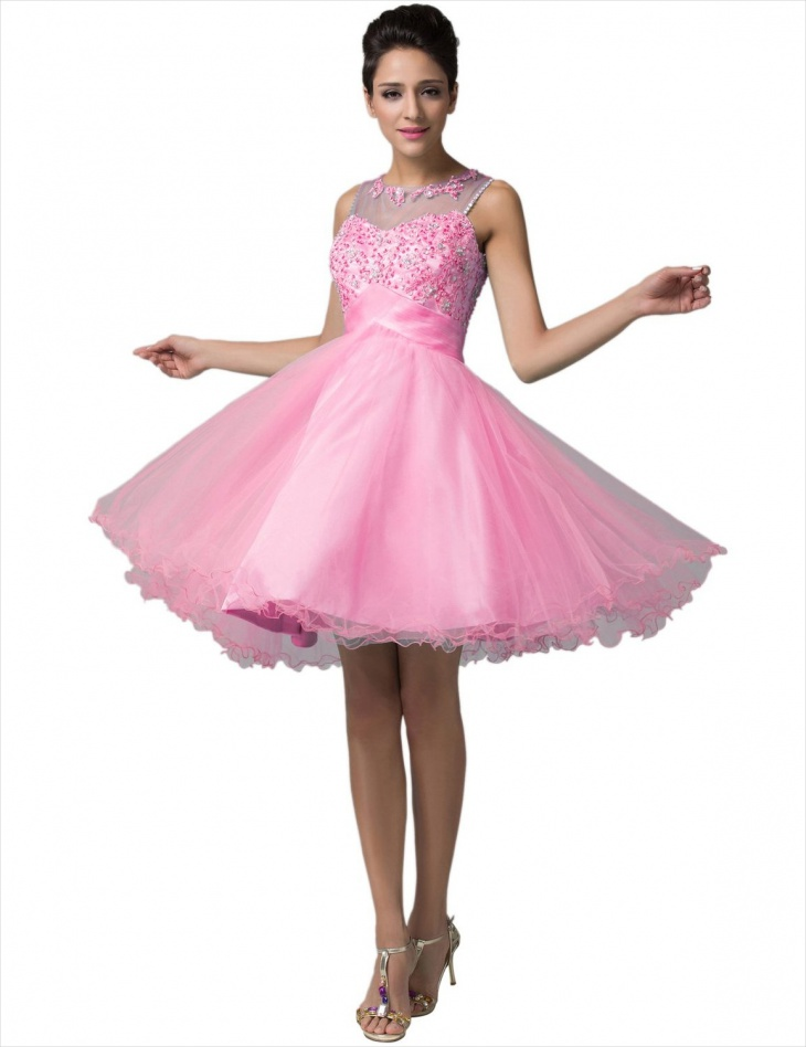 short pink puffy prom dress