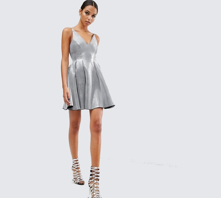 short silver sequin prom dress