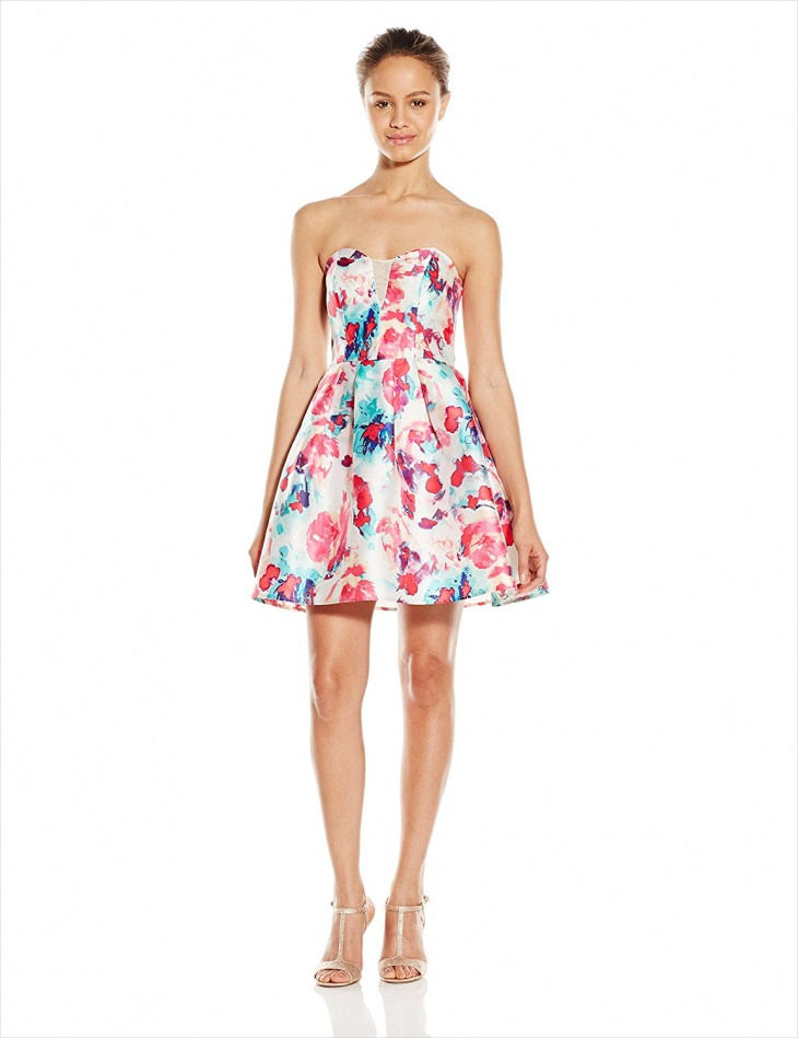 short strapless floral prom dress