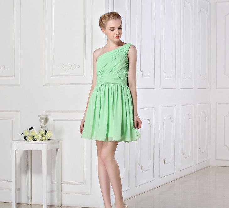 a line chiffon short prom dress