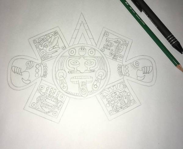 simple cool aztec drawing design