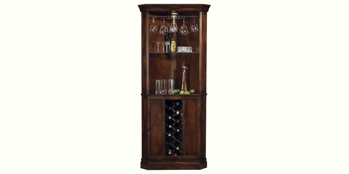 howard miller piedmont rustic cherry corner bar cabinet