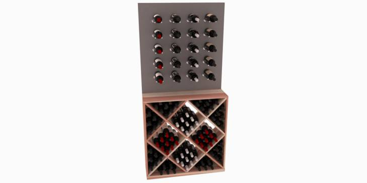 cellarvue redwood vino rail wine rack combo oak stain satin finish