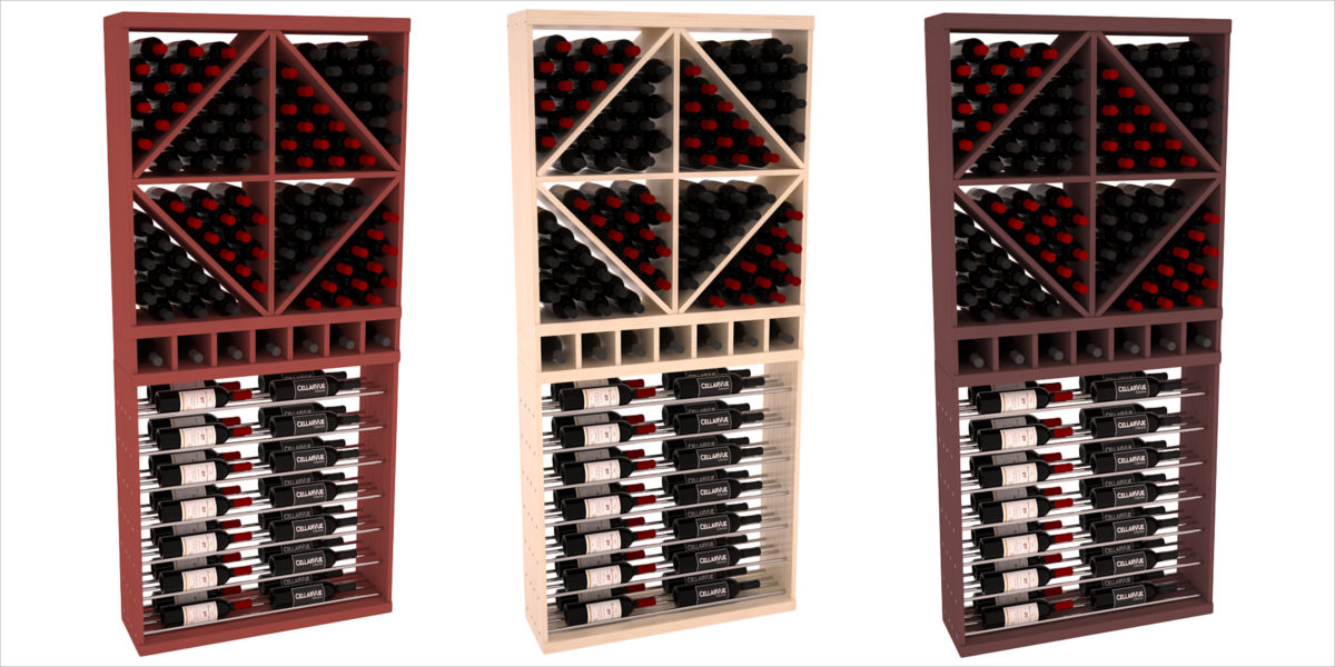 cellarvue redwood horizontal wine rack combo oak stain satin finish