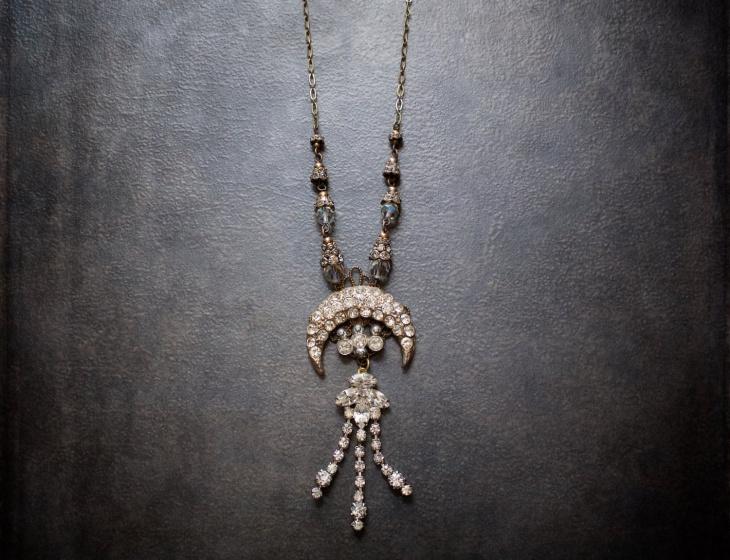 antique vintage crystal necklace design