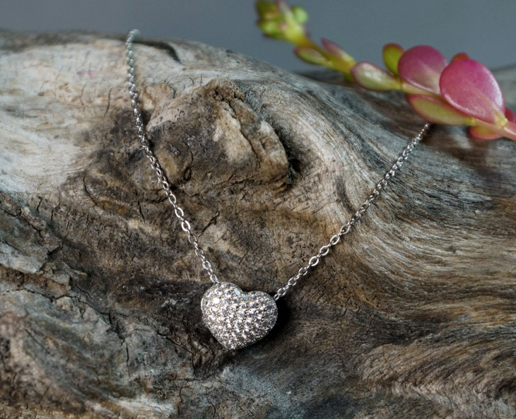 crystal pave heart necklace