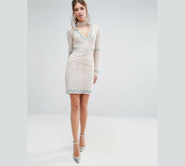 sheath neck cocktail dress