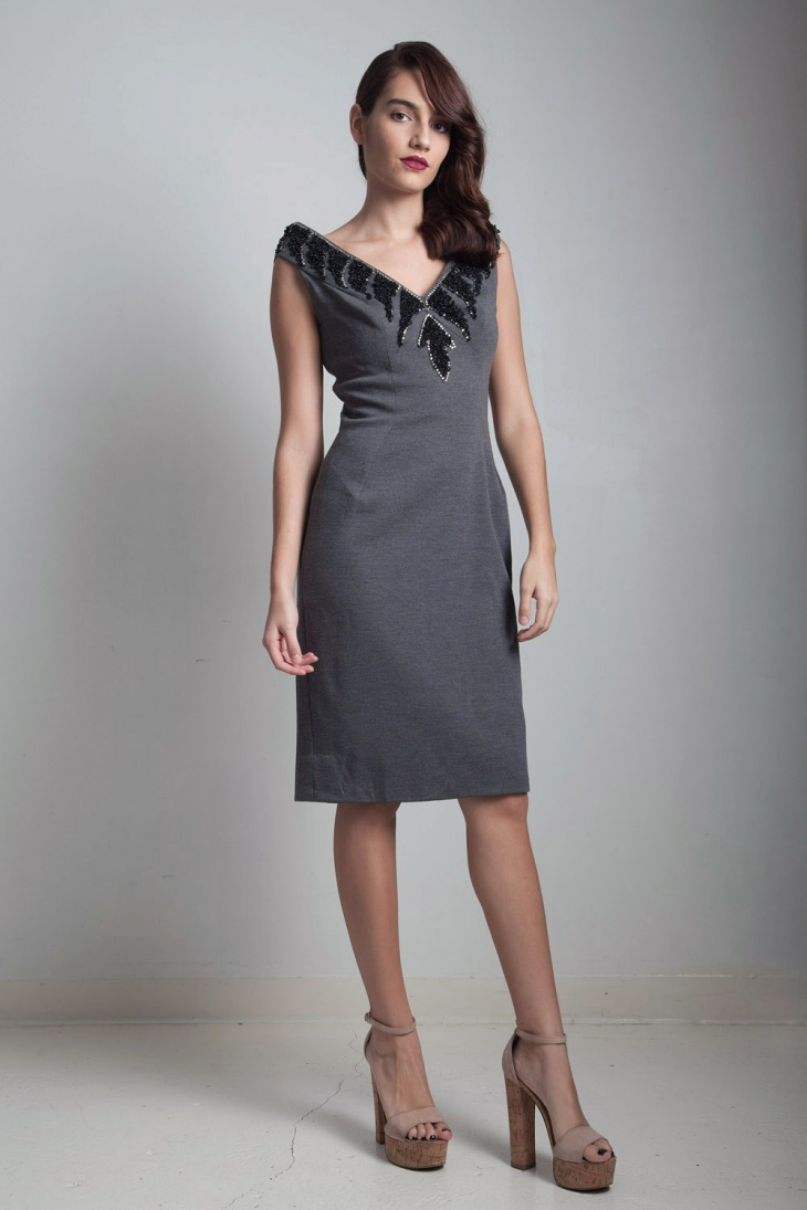 sleeveless beaded sheath dress