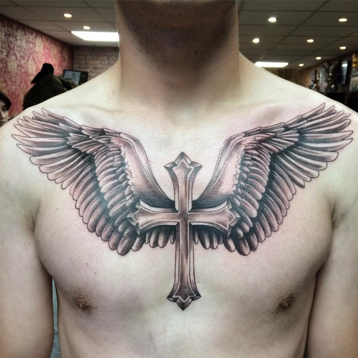 Wings Across Chest Tattoo