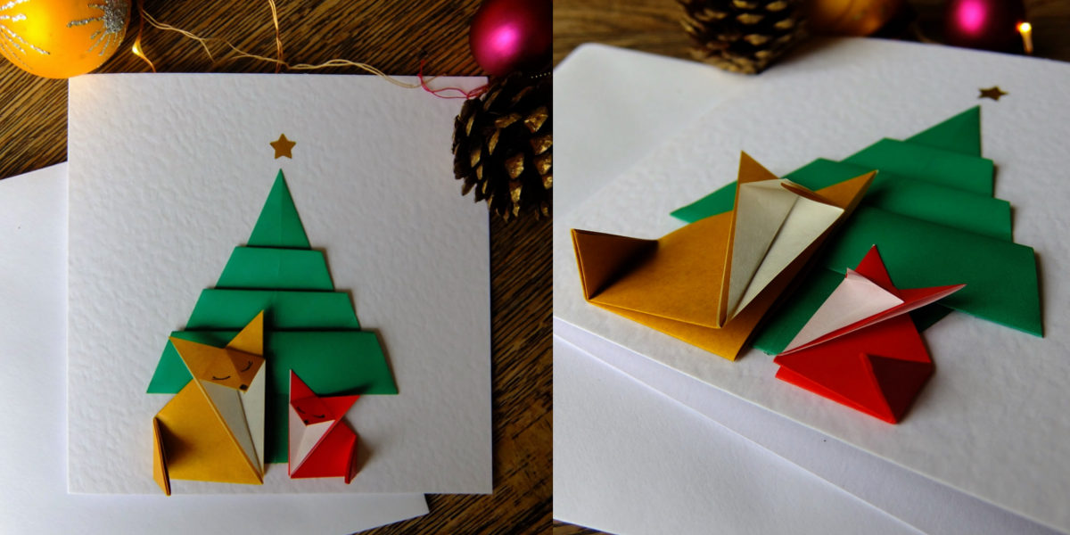 christmas theme origami card