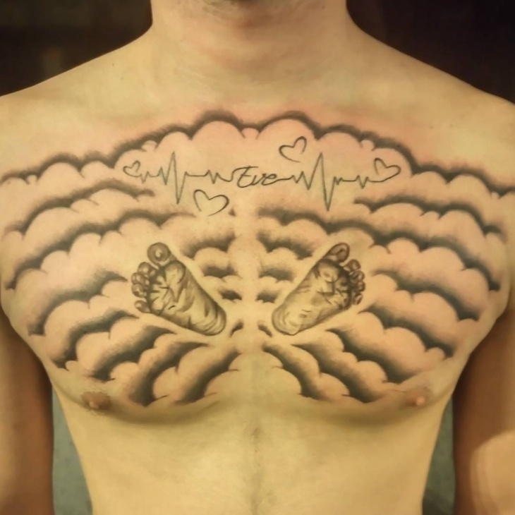 Cloud Chest Piece Tattoo Designs: 22+ Chest Tattoo Designs, Ideas