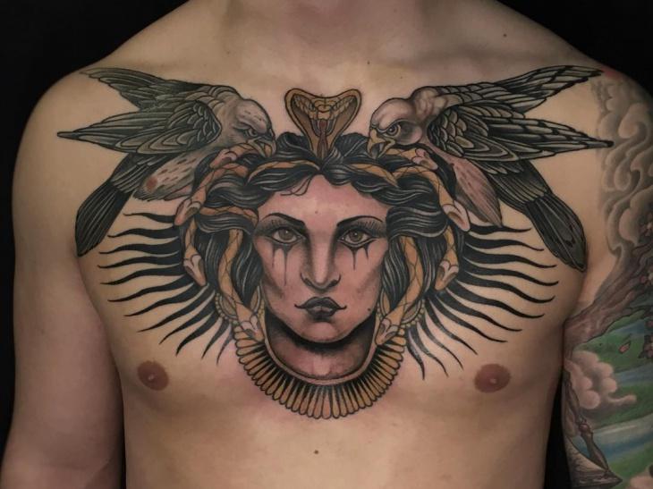 bird chest tattoo for men