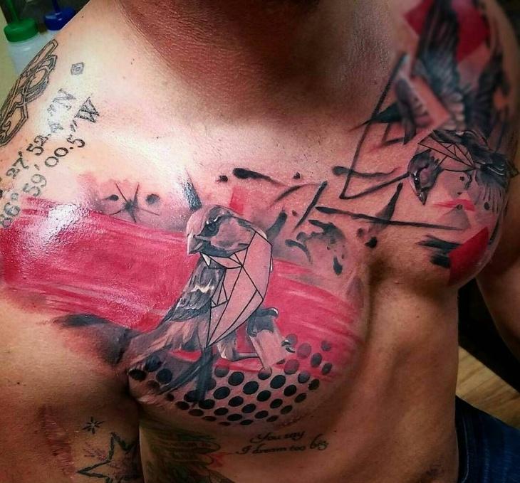 geometric bird chest tattoo