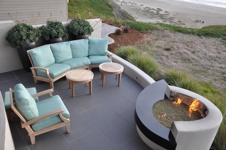 modern round outdoor fire pit